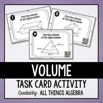 Volume Task Cards (Prisms, Cylinders, Pyramids, and Cones)