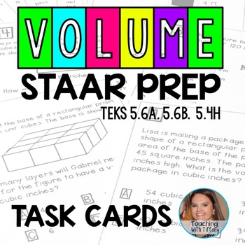 Volume Test Prep Task Cards TEKS 5.6A 5.6B 5.4H