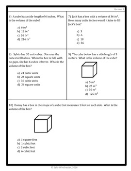 Volume: Understanding Cubic Units Quiz, 5.MD.3 Assessment, Includes 2 Versions