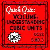 5th Grade Volume Quiz: Understanding Cubic Units Quiz, 5.MD.3 Assessment