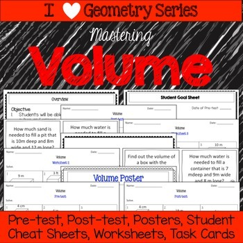 Volume Unit -Pretests, Post-tests, Posters, Cheat Sheets, Worksheets..