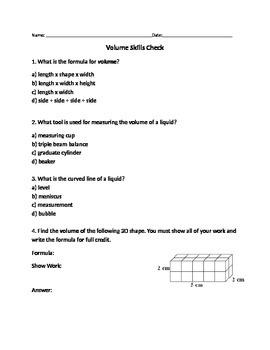 Volume Unit Quiz