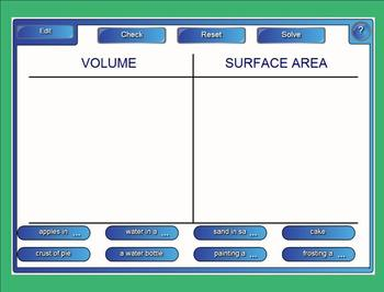 Volume Versus Surface Area Sort - Interactive Smartboard