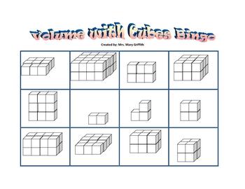 Volume With Cubes Bingo