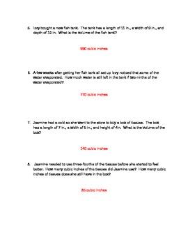 Volume Word Problem Quiz- Word Document