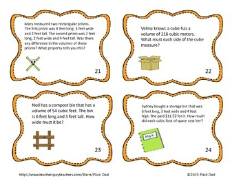 Volume Word Problem Task Cards