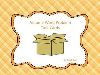Volume Word Problem Task Cards