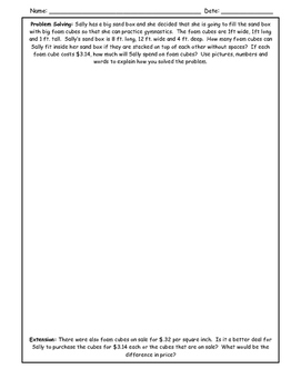 Volume Word Problem with Extension
