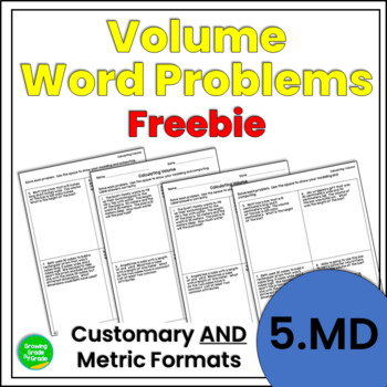 Volume Word Problems Freebie