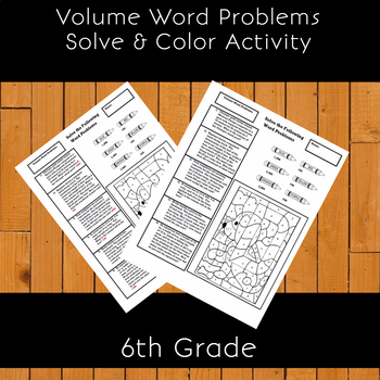 Volume Word Problems Solve & Color Activity