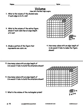 Volume Workbook - Cubes And Rectangular Prisms