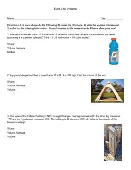 Real-Life Volume Worksheet: Cones, Cylinders, Pyramids, Prisms and Spheres