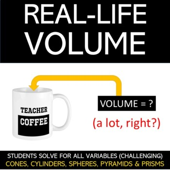 Real-Life Volume Worksheet: Cones, Cylinders, Pyramids, Prisms and Spheres