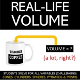 Real-Life Volume Worksheet : Cones, Cylinders, Pyramids, Prisms and Spheres