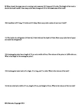 Volume Worksheets for Practice