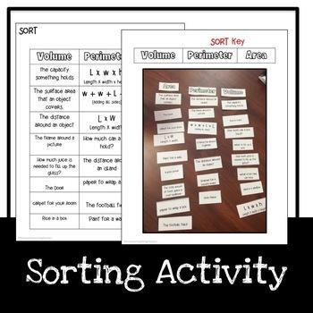 Volume Worksheets and Sort