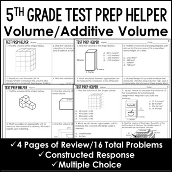 "Volume and Additive Volume of Rectangular Prisms ""No Prep"" Test Prep"