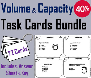 Volume and Capacity Task Cards 4th 5th 6th 7th 8th