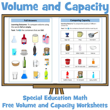 Volume and Capacity Worksheet: Special Education Math