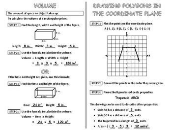 Volume and Drawing in the Coordinate Plane Interactive Notebook Page