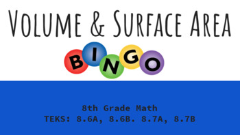 Volume and Surface Area BINGO