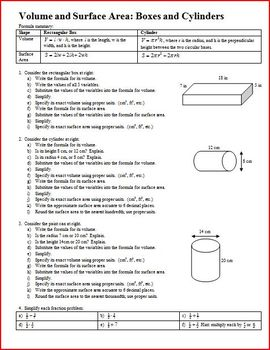 Volume and Surface Area: Boxes and Cylinders (Editable)