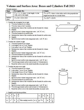 Volume and Surface Area Boxes and Cylinders Fall 2013 (Editable)