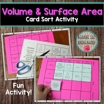 Volume and Surface Area Card Sort Activity