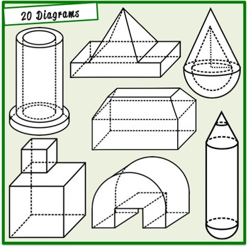 Volume and Surface Area Clipart (Geometry,Math)