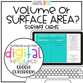 Volume and Surface Area Digital Interactive Sort for Google Classroom