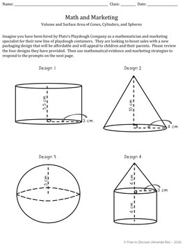 Volume and Surface Area Discovery Worksheet and Real World Application Project