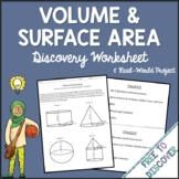 Volume and Surface Area Discovery Worksheet and Real World