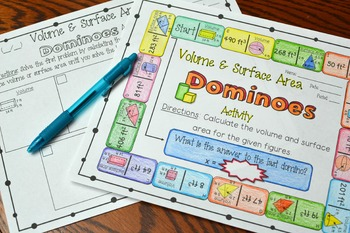 Volume and Surface Area Dominoes Activity