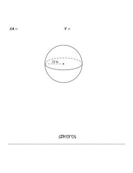 Volume and Surface Area Formula Flip Book