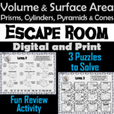 Volume and Surface Area Game: Geometry Escape Room - Math (3D Shapes)