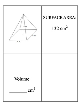 Volume and Surface Area Matching Cards