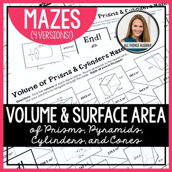 Volume and Surface Area Mazes (for HS Geometry)