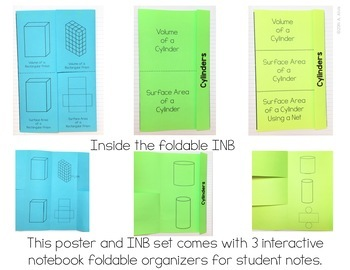 Volume and Surface Area Posters and Interactive Notebook INB Set