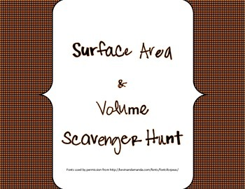 Volume and Surface Area Scavenger Hunt