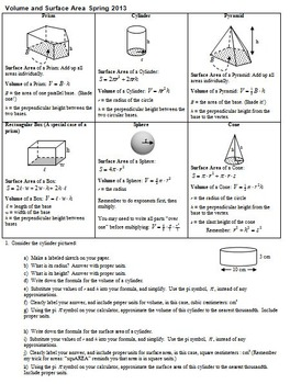 Volume and Surface Area Spring 2013 with Answer Key (Editable)