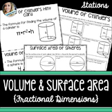 Volume and Surface Area with Fractions Stations: 8.G.9, 7.G.6, 6.G.2