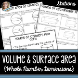 Volume and Surface Area Stations: 8.G.9, 7.G.6, 6.G.2