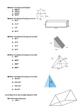 Volume and Surface Area Test