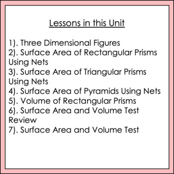 Volume and Surface Area Unit Common Core 6.G.2 and 6.G.4