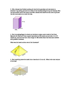Volume and Surface Area Word Problems