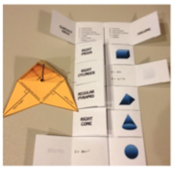 Volume and Surface Area of 3-D Figures - Cheat Sheet - Foldable - Model