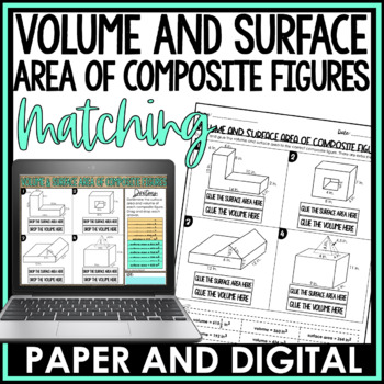 Volume and Surface Area of Composite Figures Cut and Paste Activity