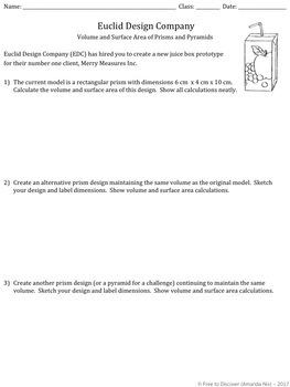 Volume and Surface Area of Prisms and Pyramids Discovery Worksheet