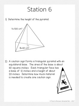 Volume and Surface Area of Prisms and Pyramids Stations