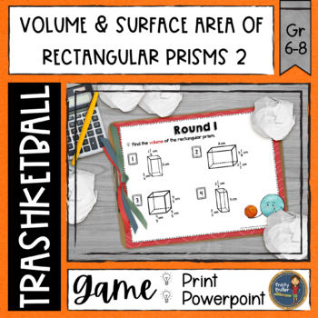 Volume and Surface Area of Rectangular Prisms 2 Trashketball Math Game